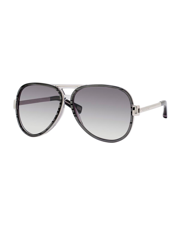7966812146 Lyst - Marc Jacobs Metal Gradient Aviator Sunglasses in Gray