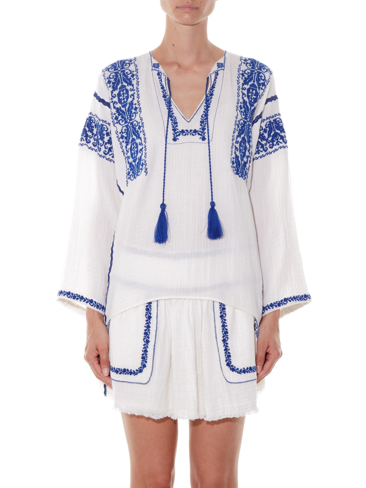 482e25cd1bd69b Étoile Isabel Marant Vince Embroidered Blouse in White - Lyst