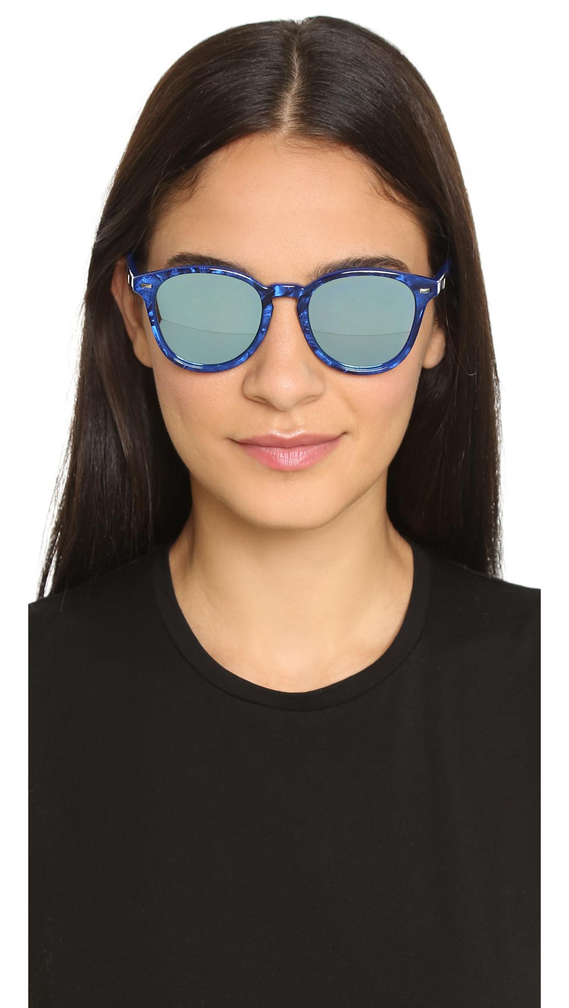 c60b896c10 Lyst - Le Specs Bandwagon Sunglasses - Cobalt Marble silver in Blue