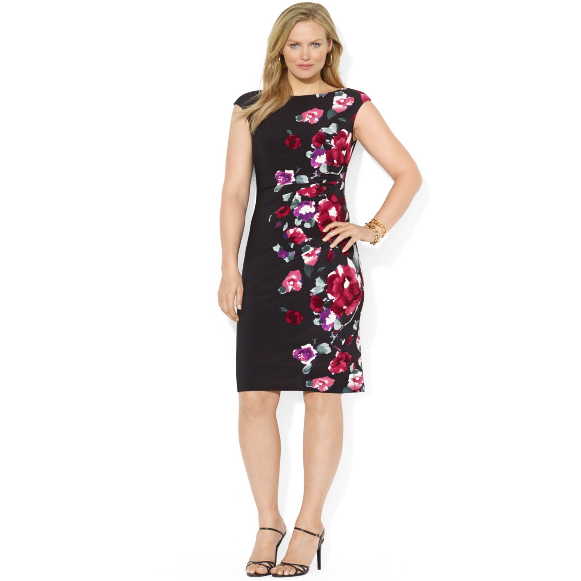 Plus Size Capsleeve Floralprint Dress
