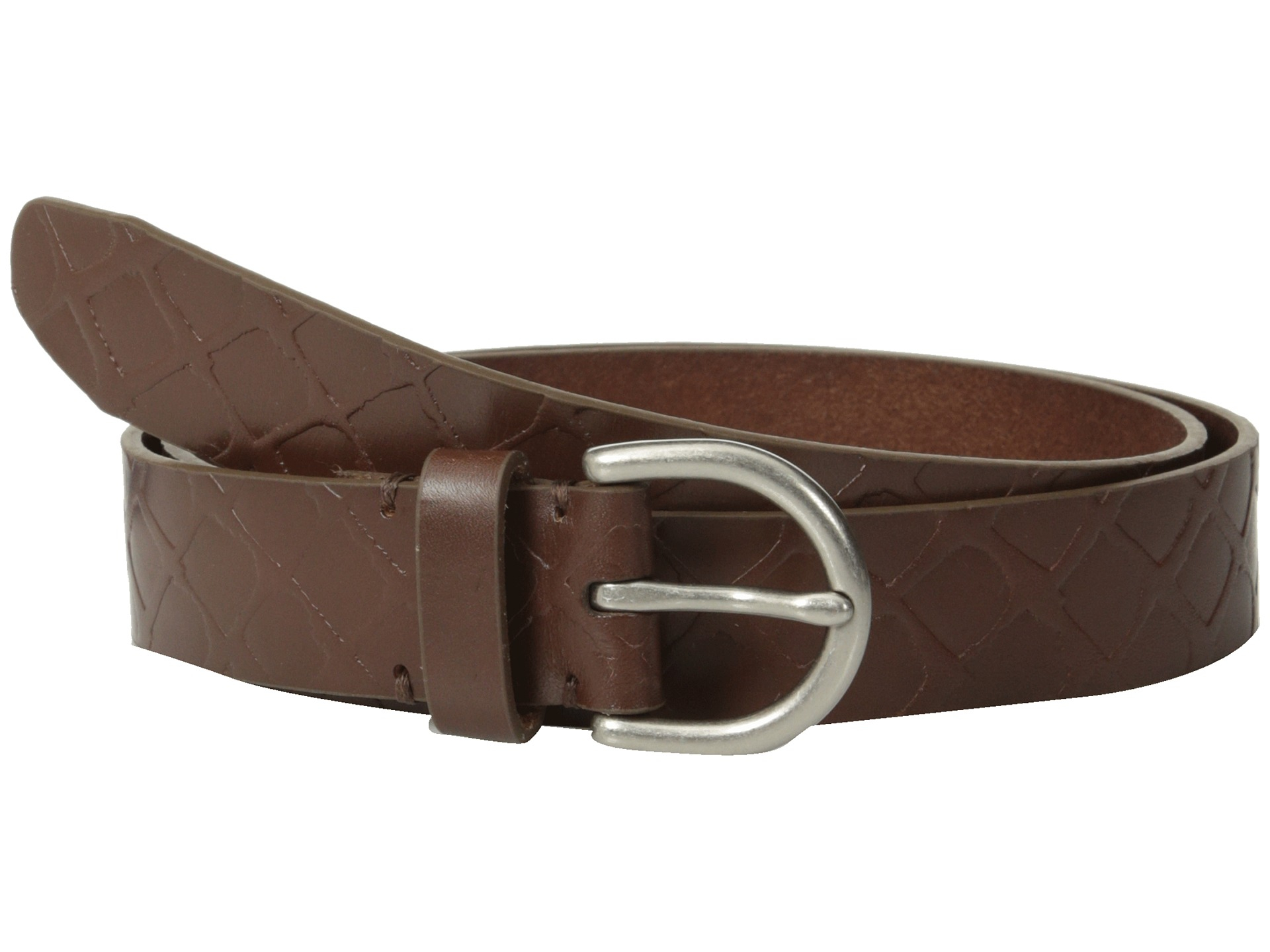 fossil embossed belt in brown lyst