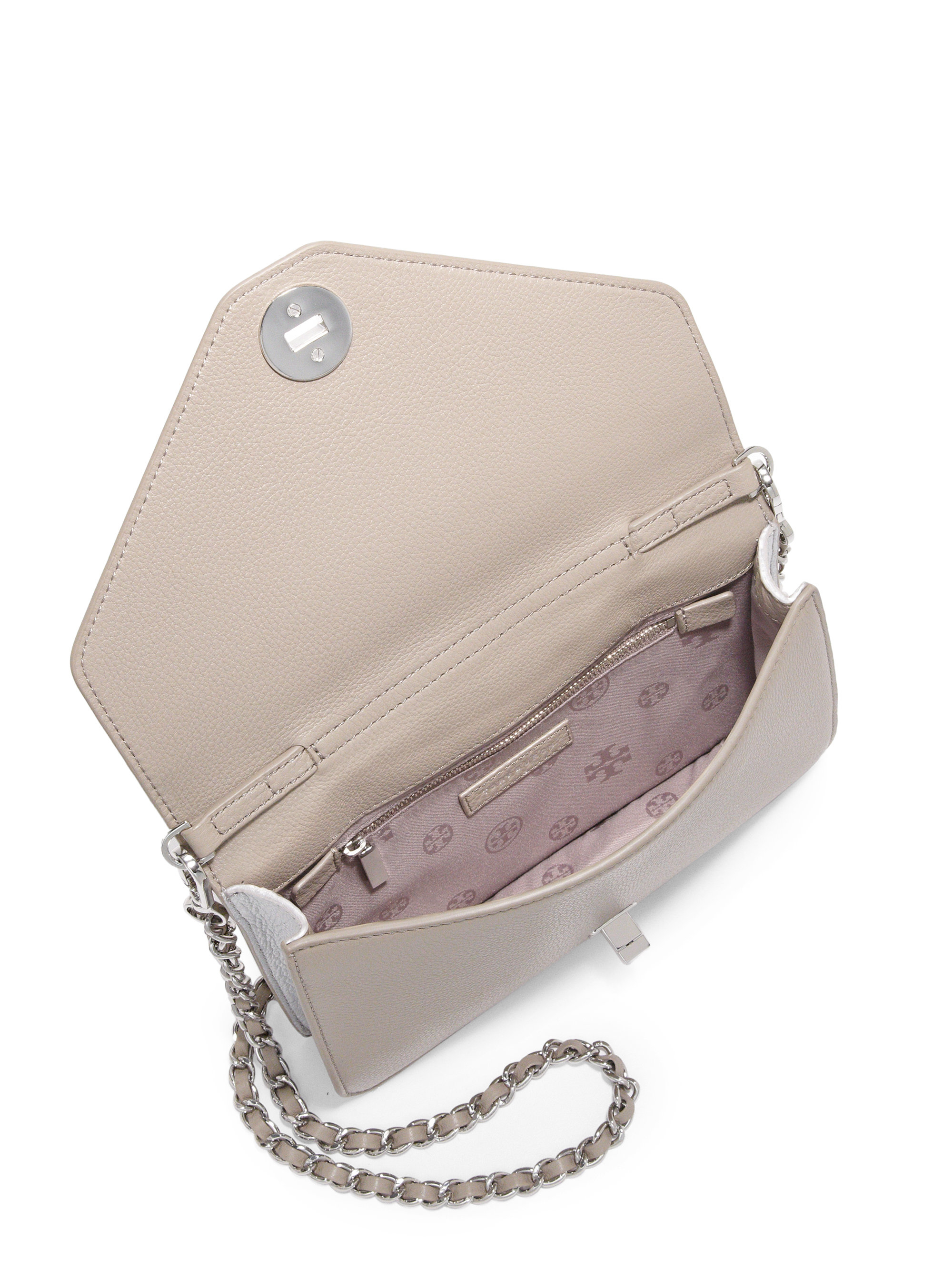 c468e897864 Lyst - Tory Burch Kira Leather Envelope Clutch in Gray