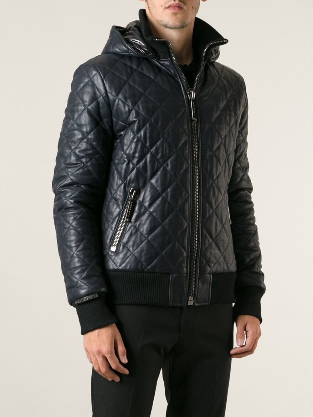 philipp plein quilted bomber jacket in blue for men lyst. Black Bedroom Furniture Sets. Home Design Ideas