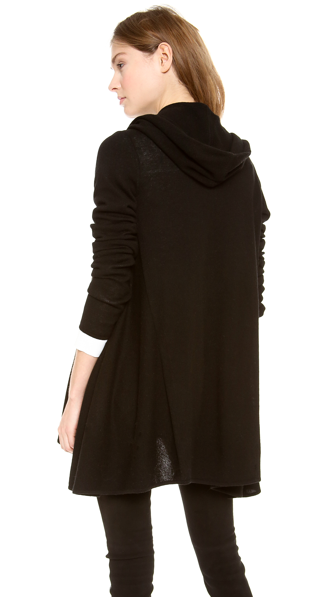 Vince Hooded Cashmere Cardigan in Black | Lyst