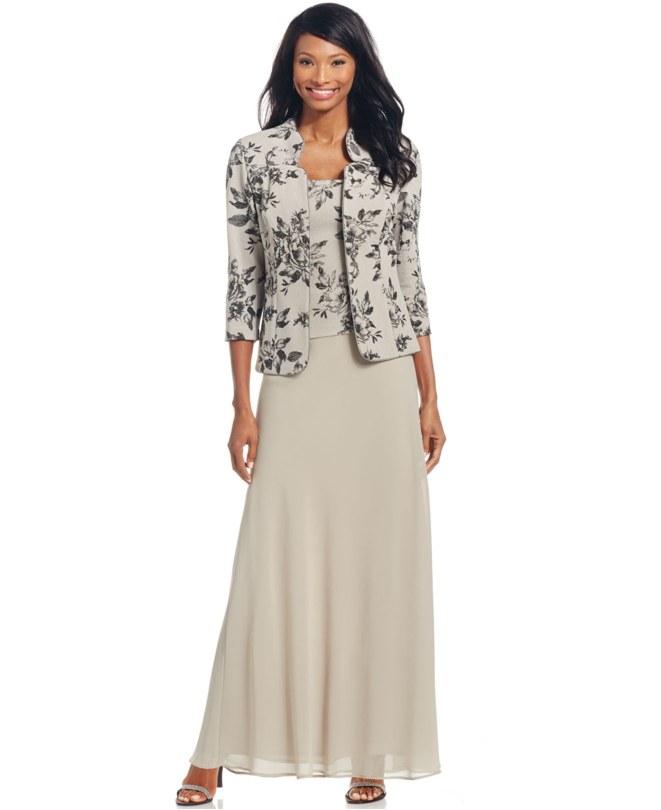 Lyst - Alex Evenings Petite Floral-print Gown And Jacket in Gray