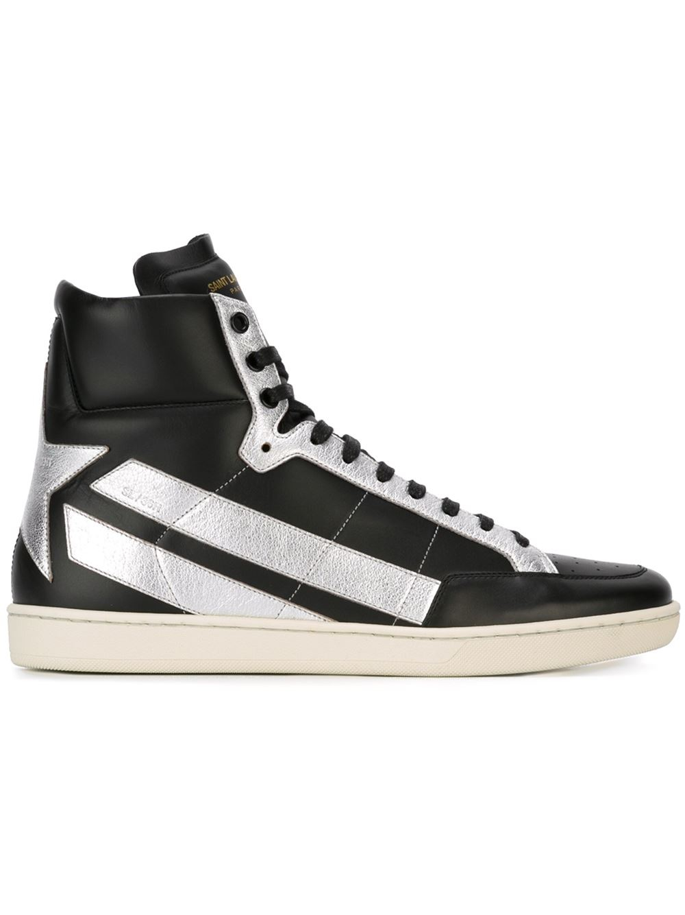 lyst saint laurent leather sneakers in metallic. Black Bedroom Furniture Sets. Home Design Ideas