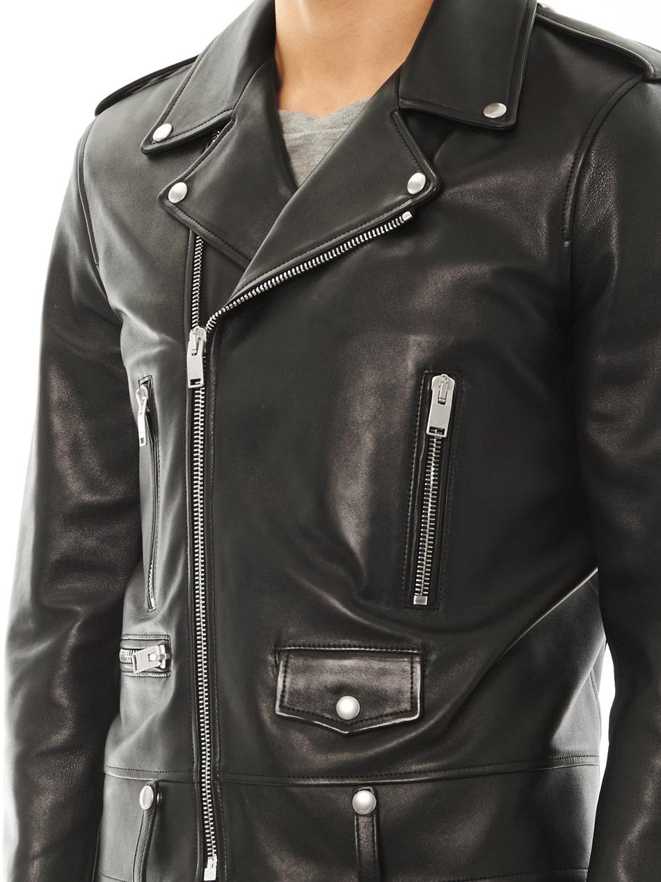 Saint Laurent Leather Motorcycle Jacket in Black for Men ...
