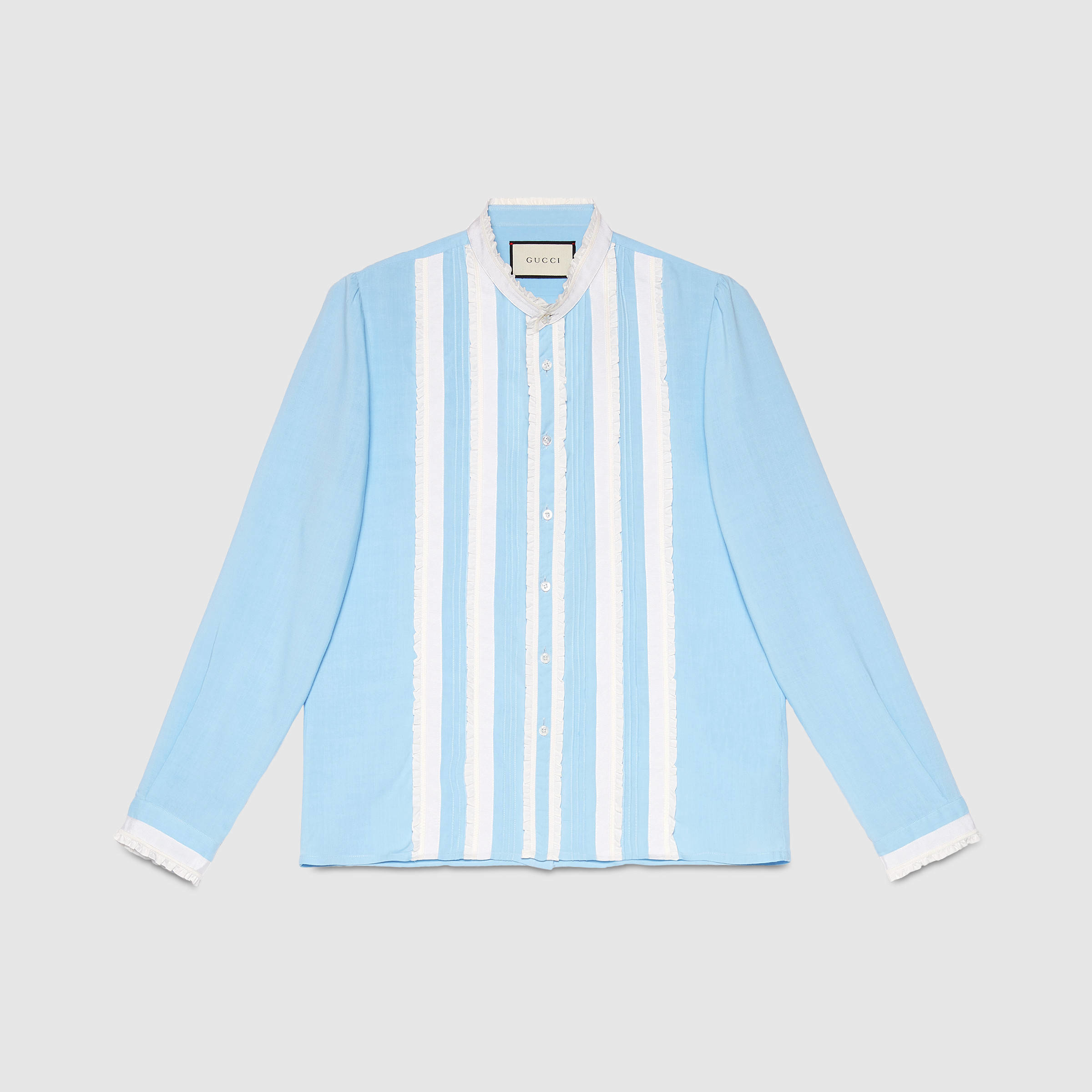 14e9341a Gucci Plain Weave Shirt With Ribbon in Blue for Men - Lyst
