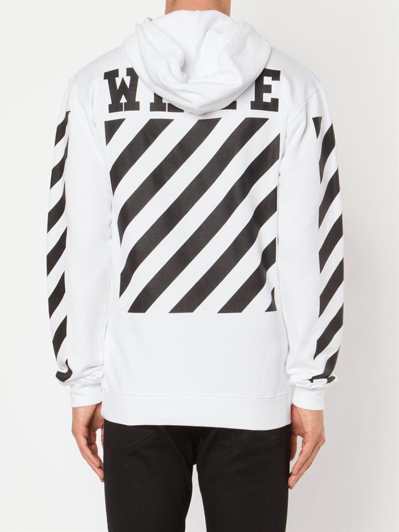 71aa84033d5f07 Lyst - Off-White c o Virgil Abloh Striped Panel Hoodie in White for Men