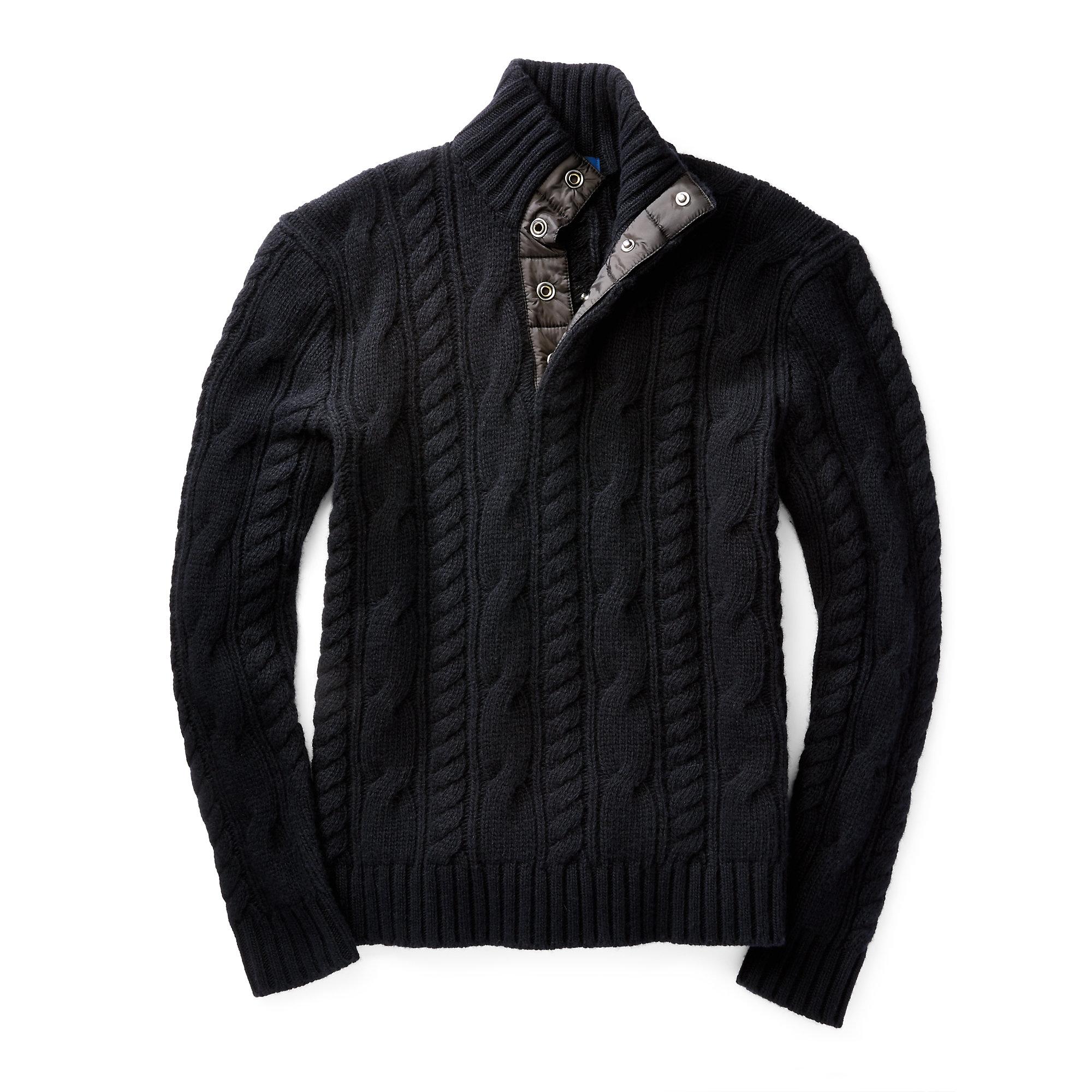 Polo Ralph Lauren Aran-knit Wool Sweater in Black for Men ...