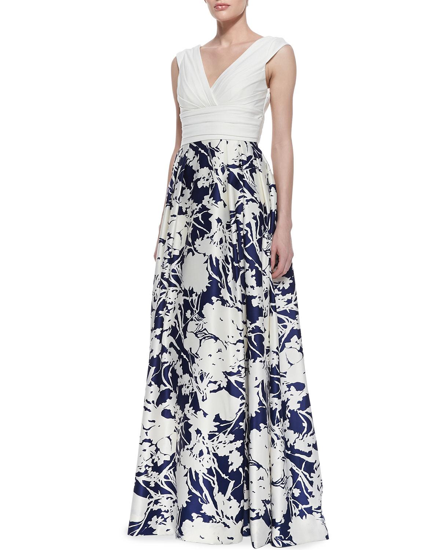 Lyst Aidan Mattox Sleeveless Floral Skirt Ball Gown In Black