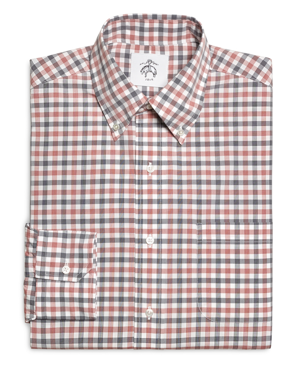 Brooks Brothers Red Navy And White Check Button Down Shirt