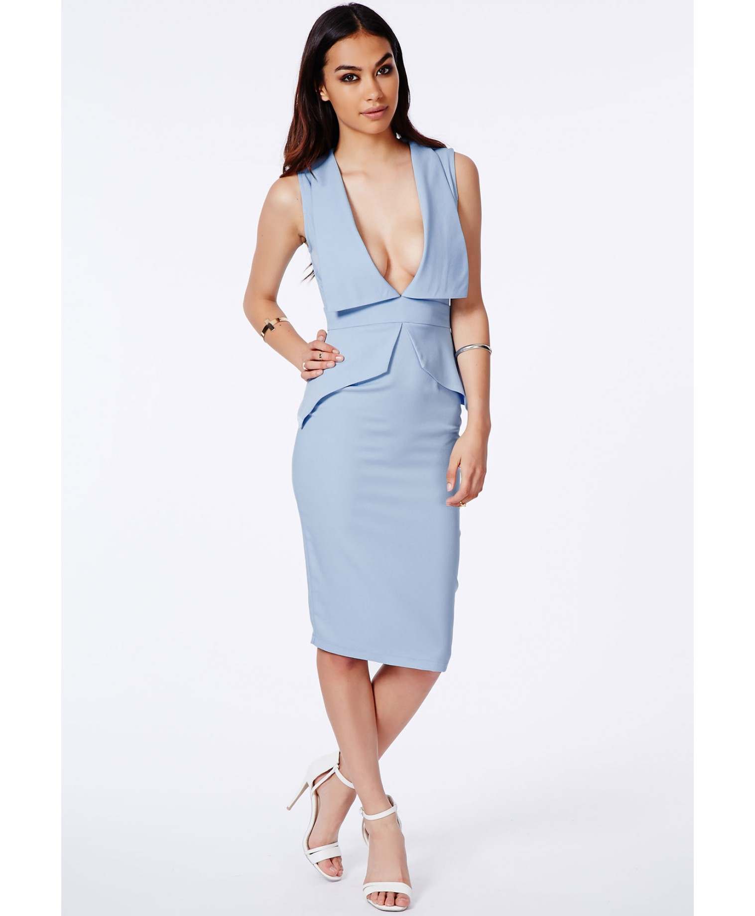 Shop blue peplum dress at Neiman Marcus, where you will find free shipping on the latest in fashion from top designers.