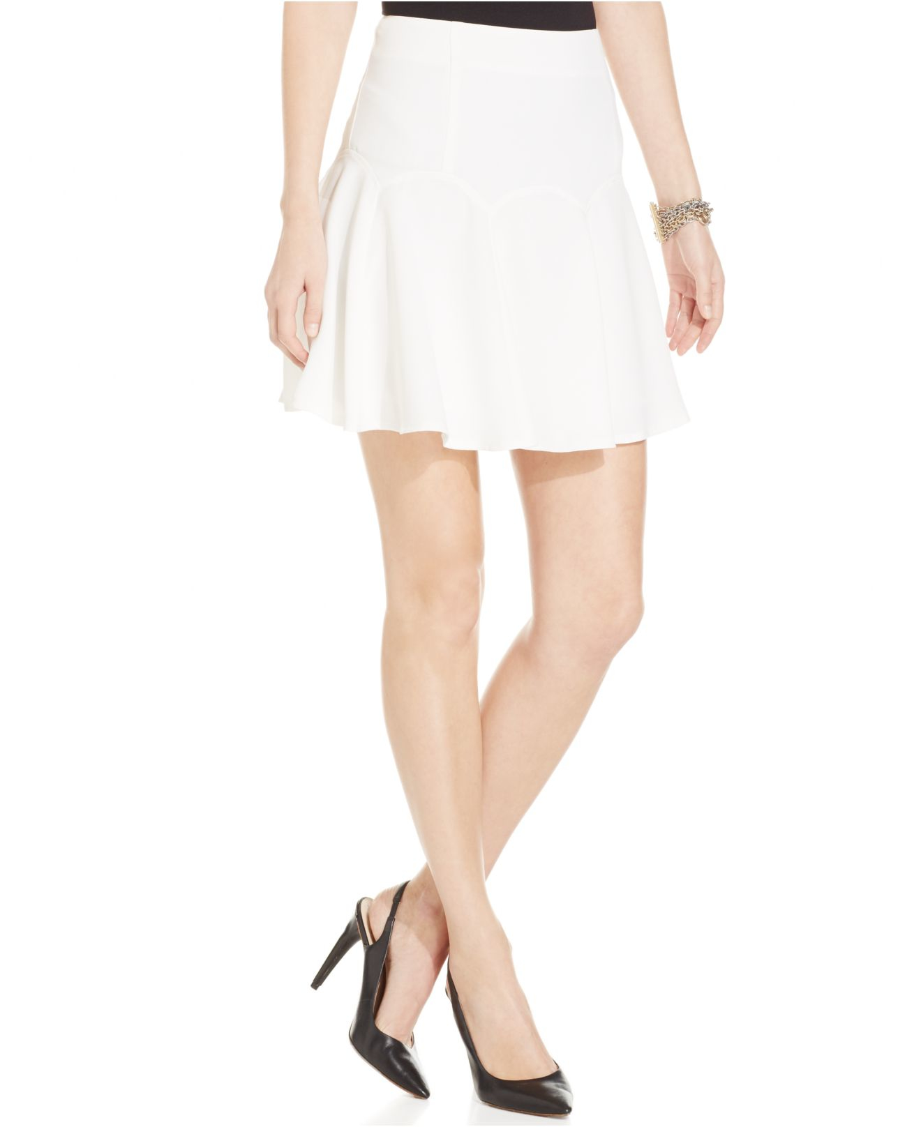 Cece by cynthia steffe Crepe Flounce Skirt in Natural