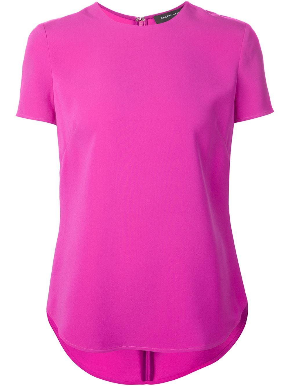 ralph lauren black label short sleeve blouse in pink pink purple lyst. Black Bedroom Furniture Sets. Home Design Ideas