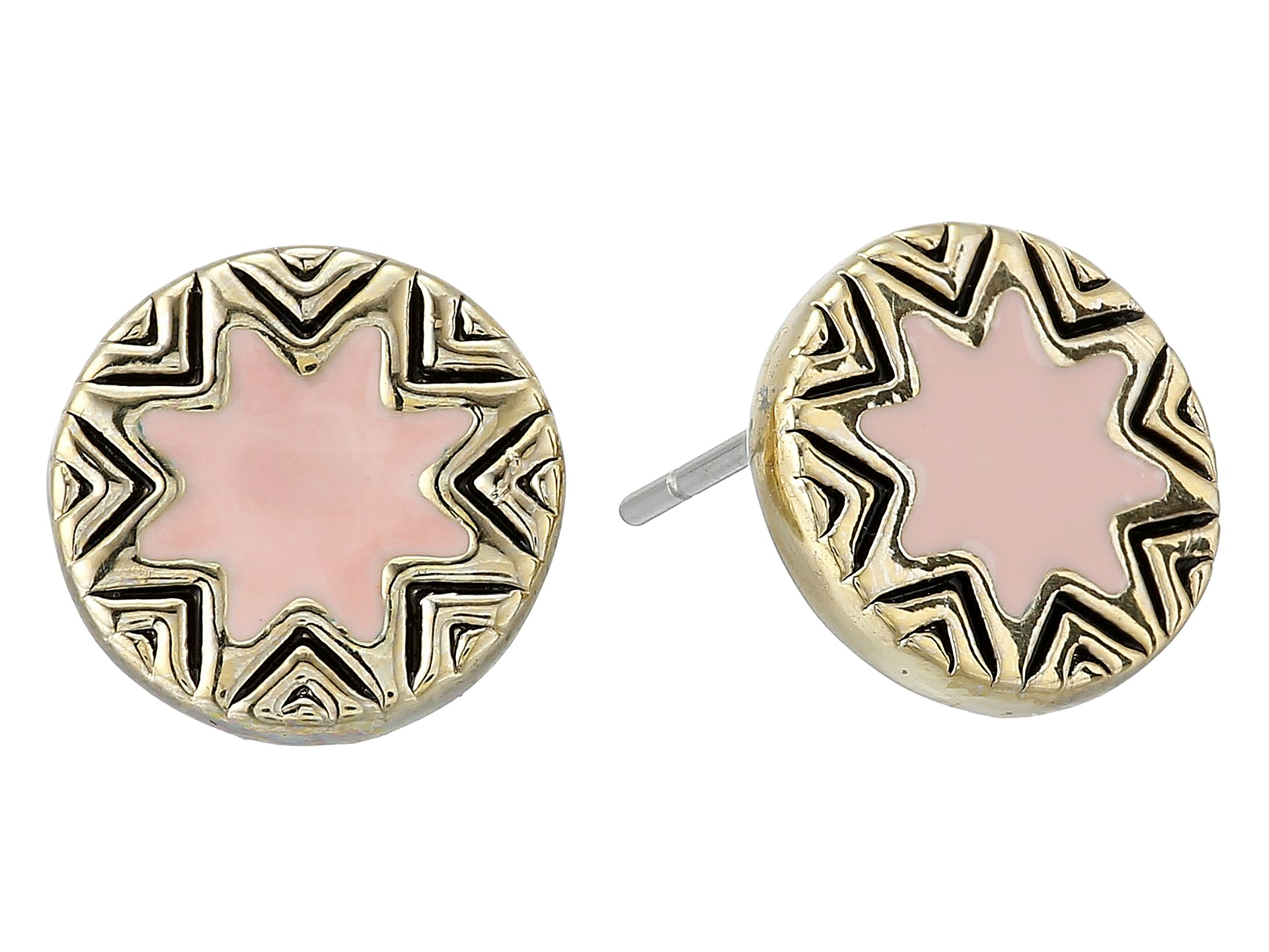 house of harlow 1960 mini sunburst stud earrings in pink