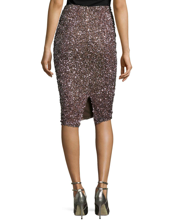 Parker black Cascade Sequin Pencil Skirt in Purple | Lyst