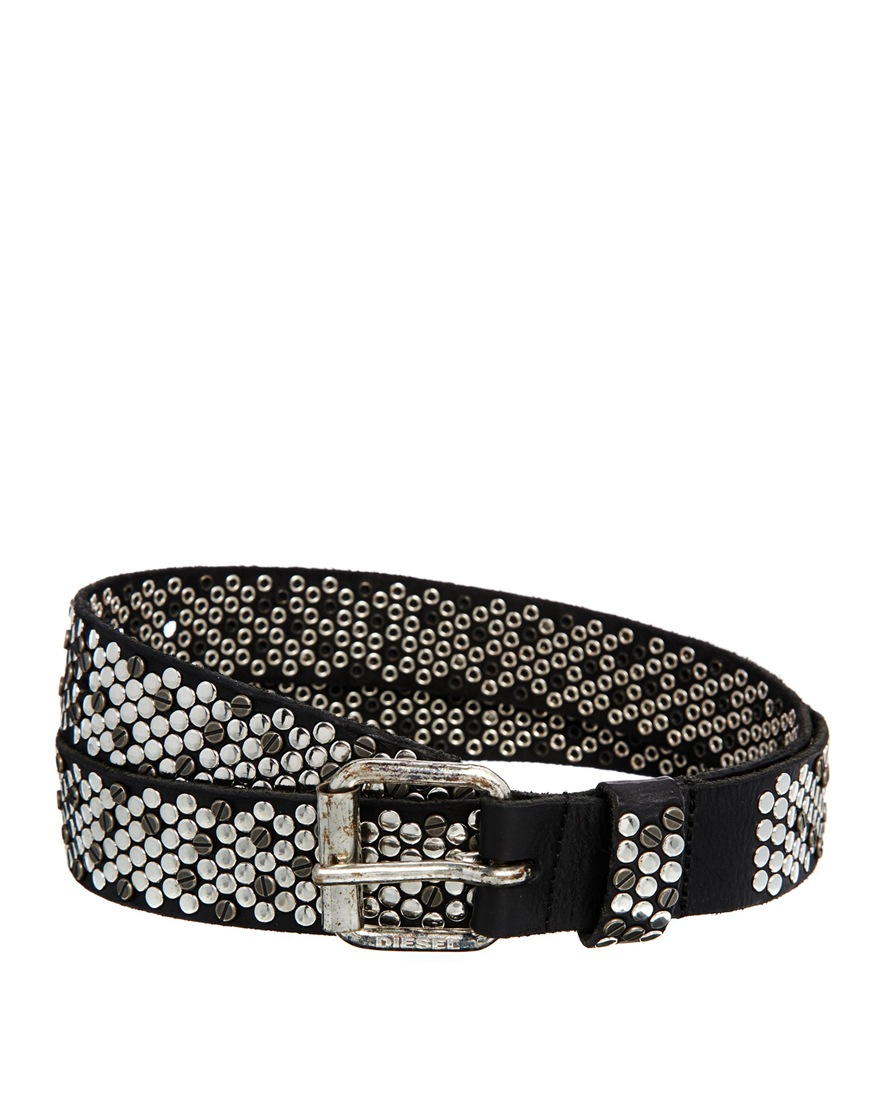 diesel bocow studded leather belt in black for lyst
