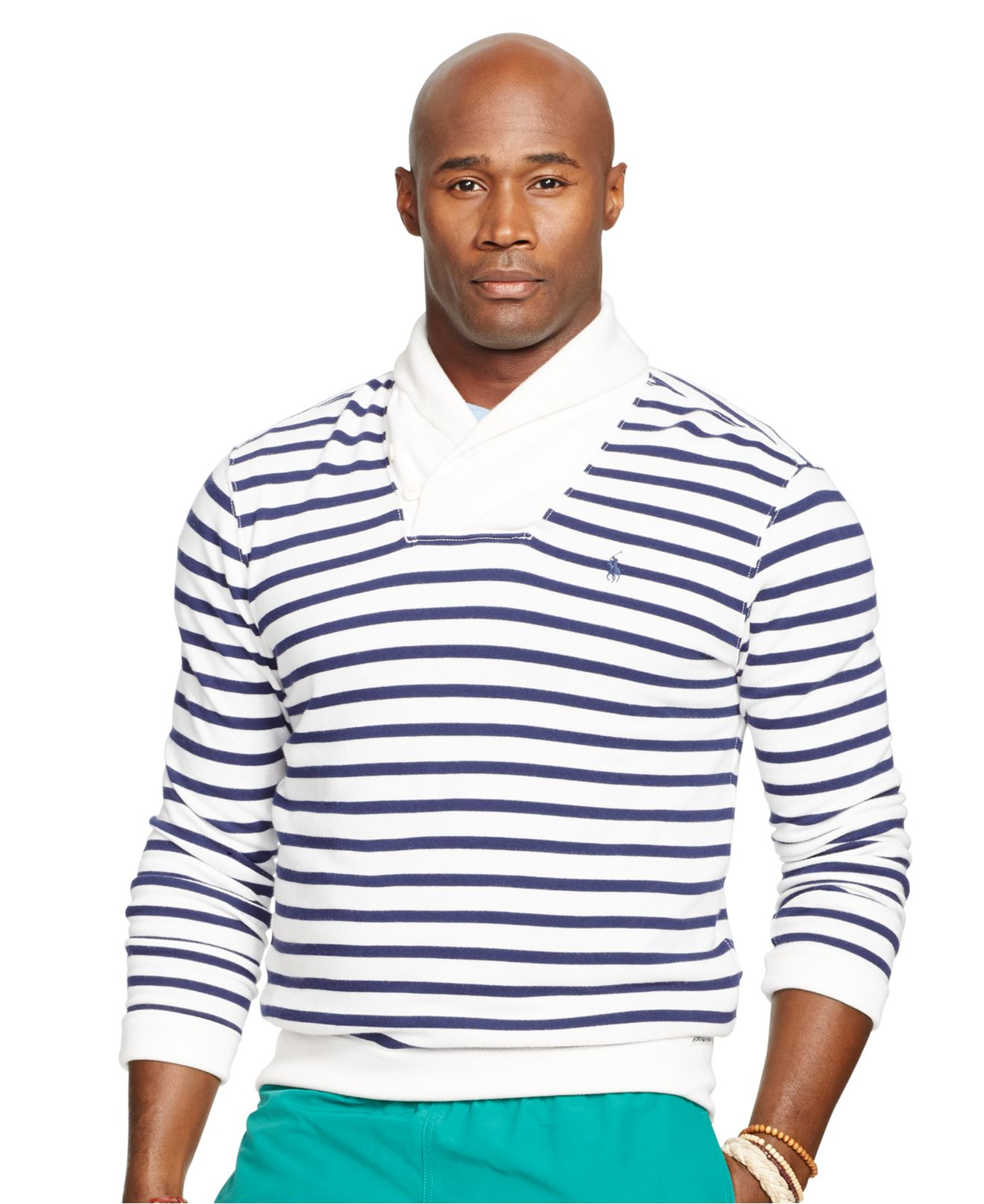 polo ralph lauren big and tall striped shawl collar terry. Black Bedroom Furniture Sets. Home Design Ideas