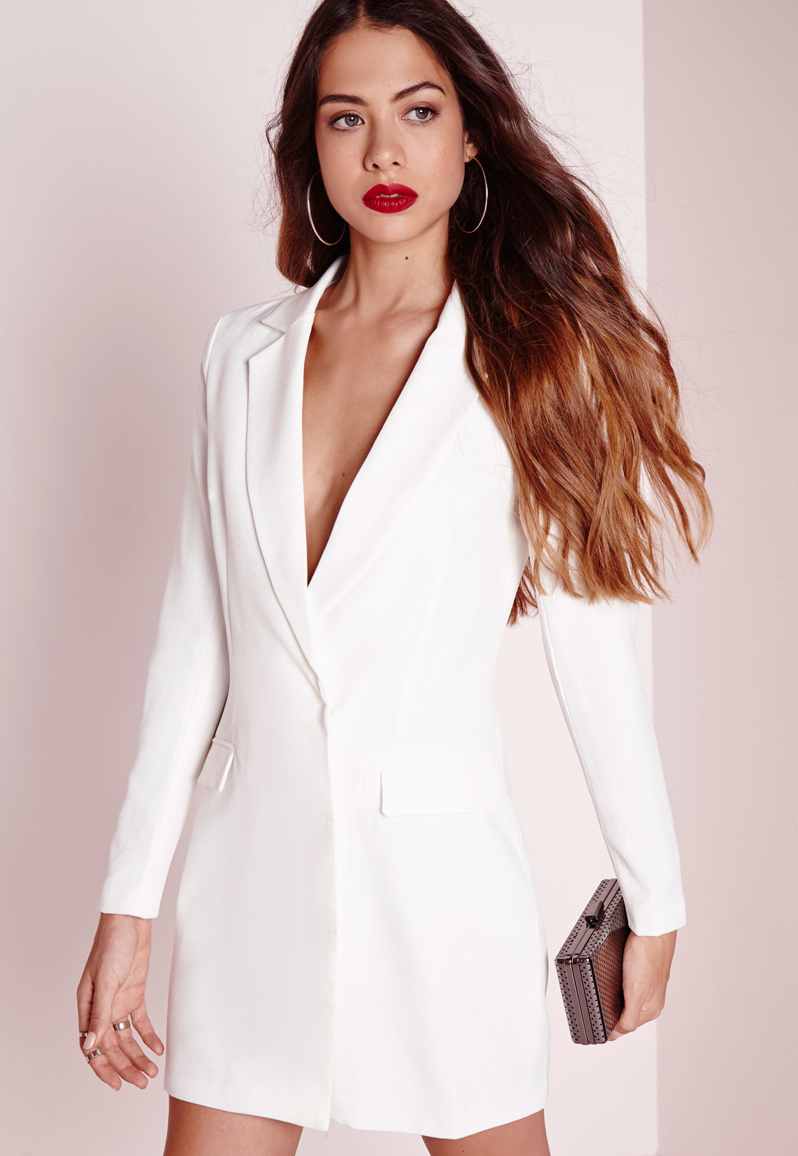 Lyst - Missguided Long Sleeve Blazer Dress White In White