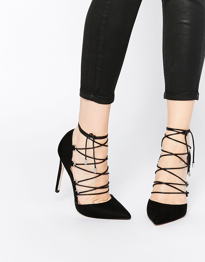 Asos Prop Lace Up Pointed High Heels in Black