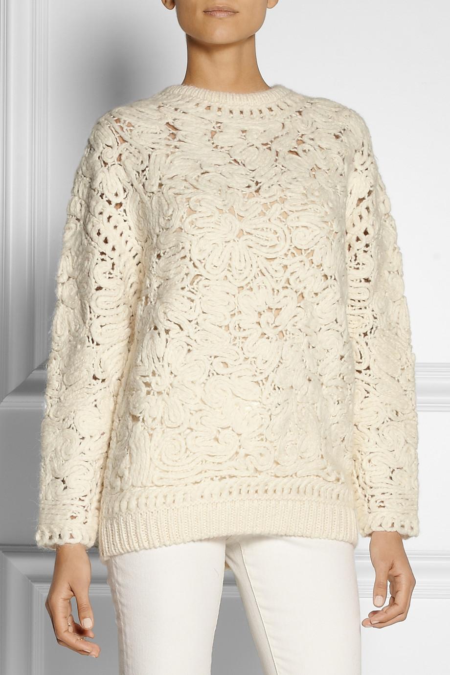 Lyst Stella Mccartney Crochet Knit Sweater In White