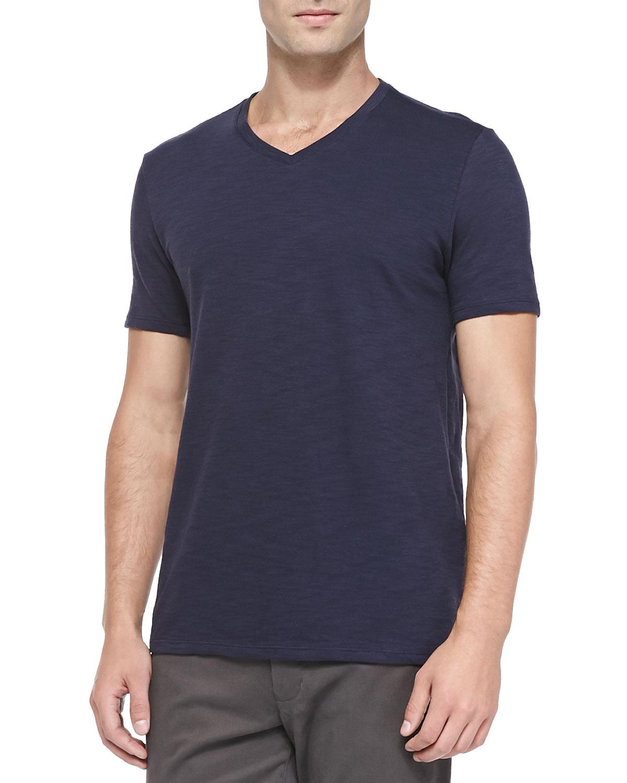 Lyst vince slub jersey v neck tee in blue for men for Vince tee shirts sale