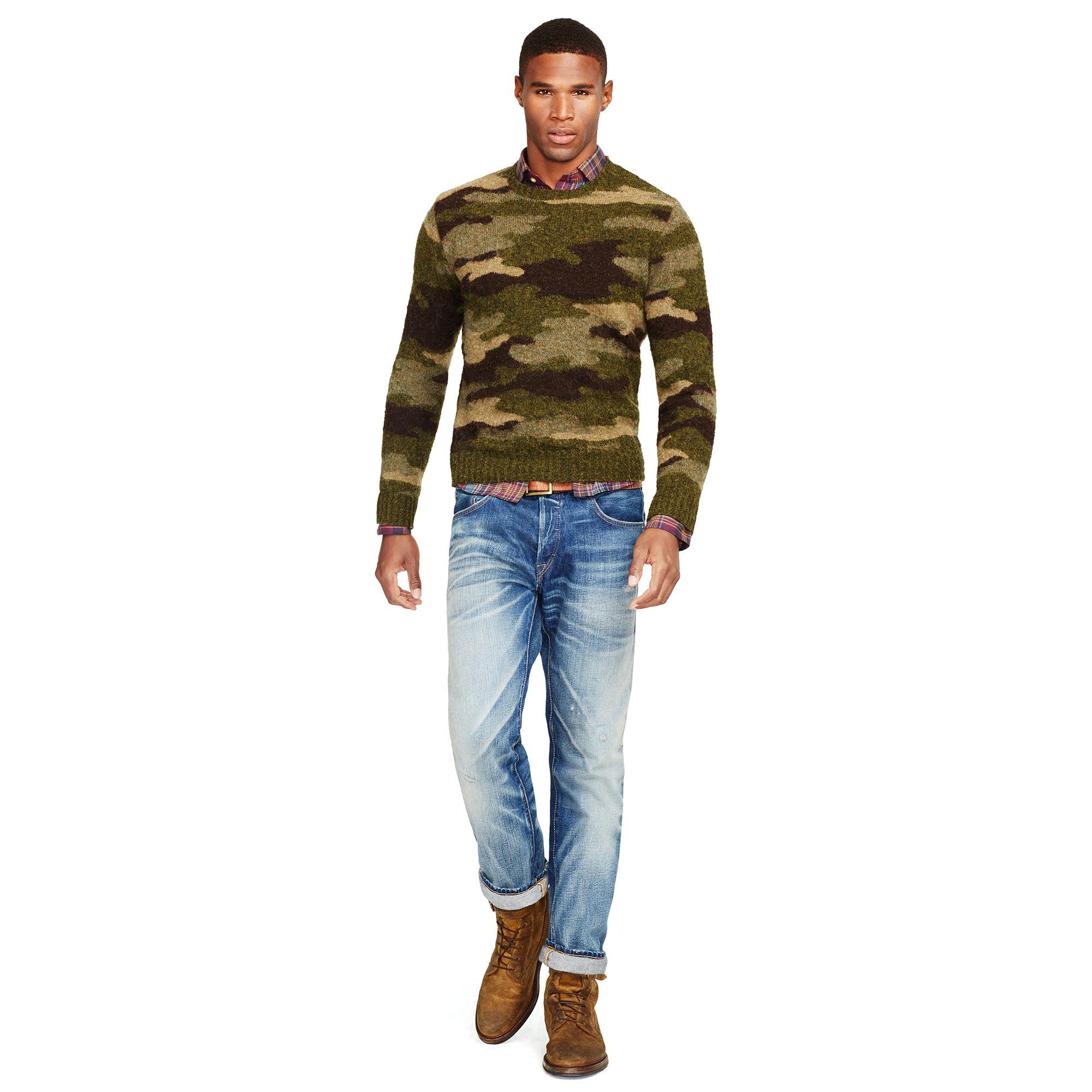 Wool Polo Green For Camo Sweater Lauren Crewneck Men Ralph u1lFK35JcT