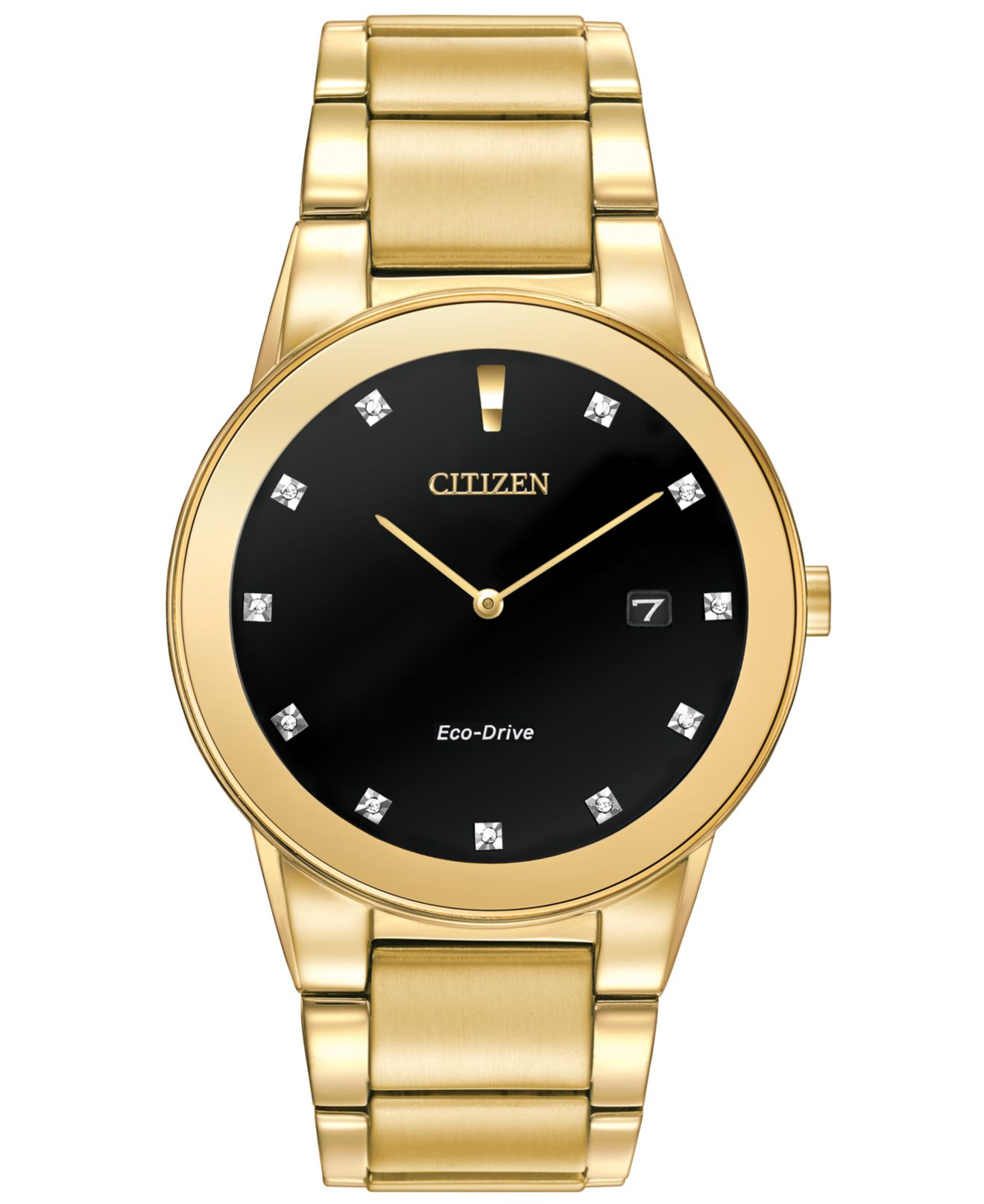Citizen Mens Eco drive Axiom Diamond Accent Gold tone