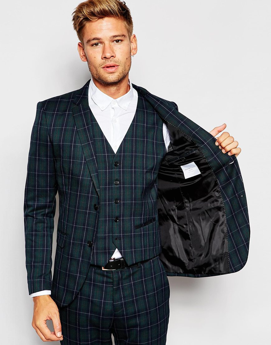 Selected Exclusive Tartan Suit Jacket In Skinny Fit - Green in