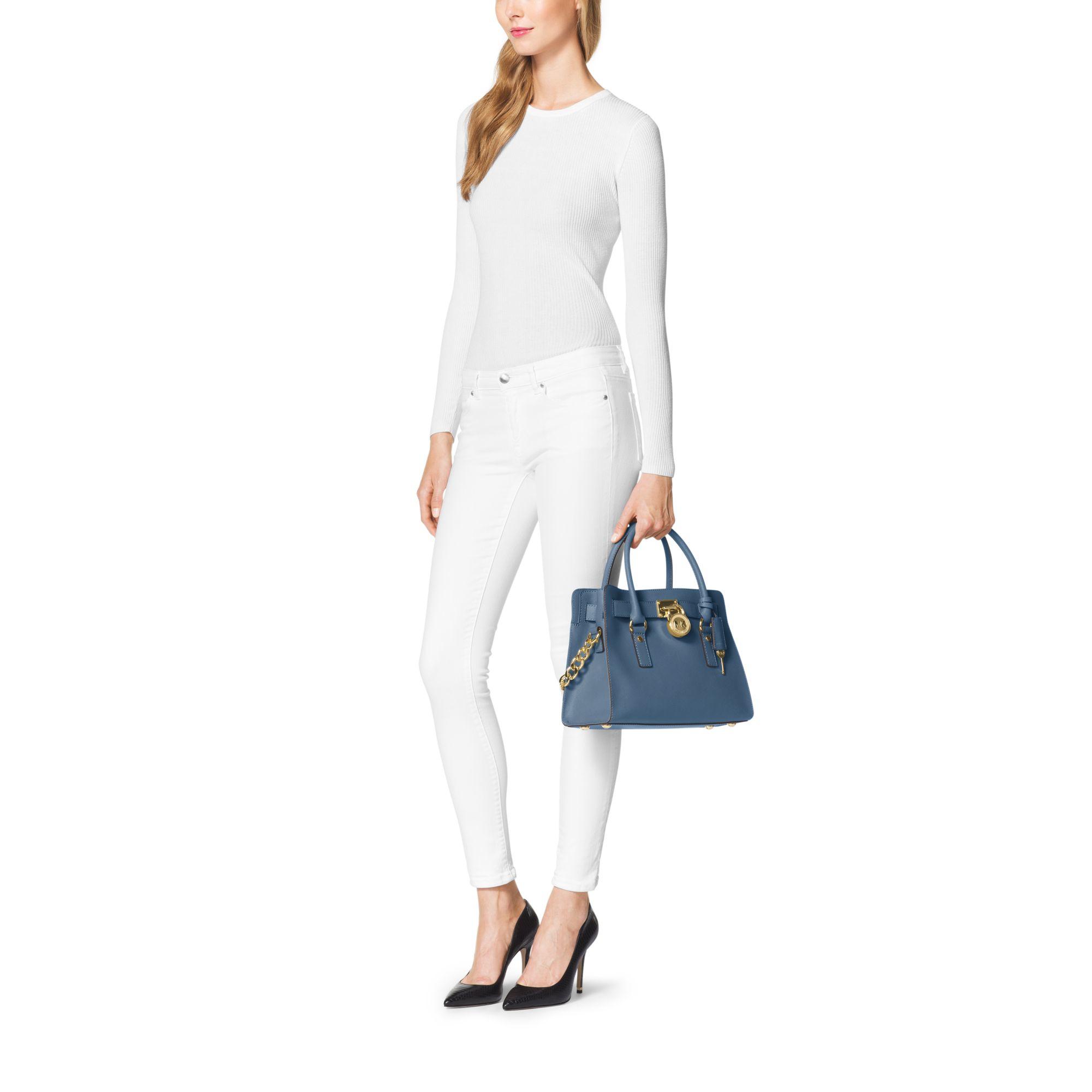 lyst michael kors hamilton saffiano leather medium satchel in blue rh lyst com