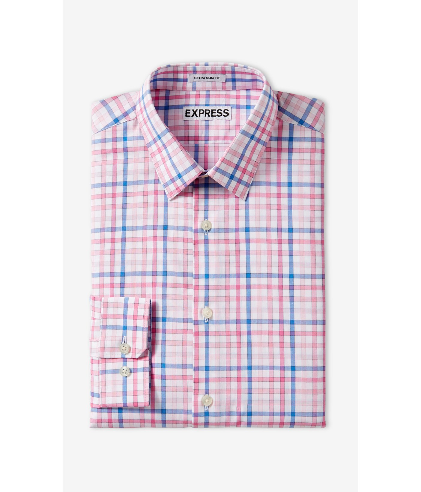Express slim check dress shirt in pink for men lyst for Pink checkered dress shirt