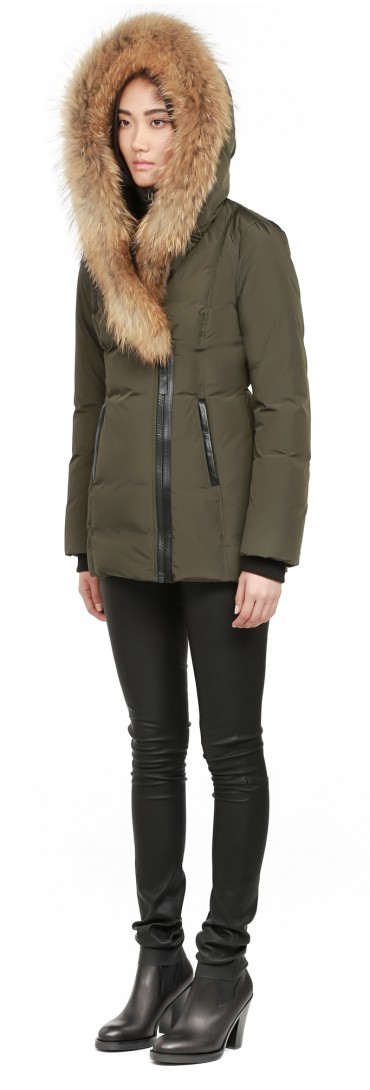 1cf2e855c729 ... greece lyst mackage adali f5 army fitted down coat with fur hood in  green e62ab 965ec