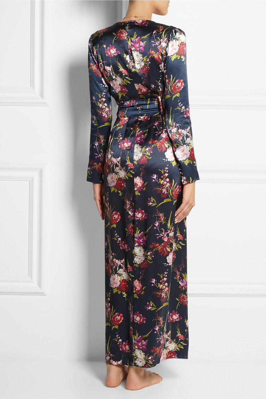 aed7389478 Lyst - Rosamosario Deep Water Floral-Print Silk-Satin Robe in Blue