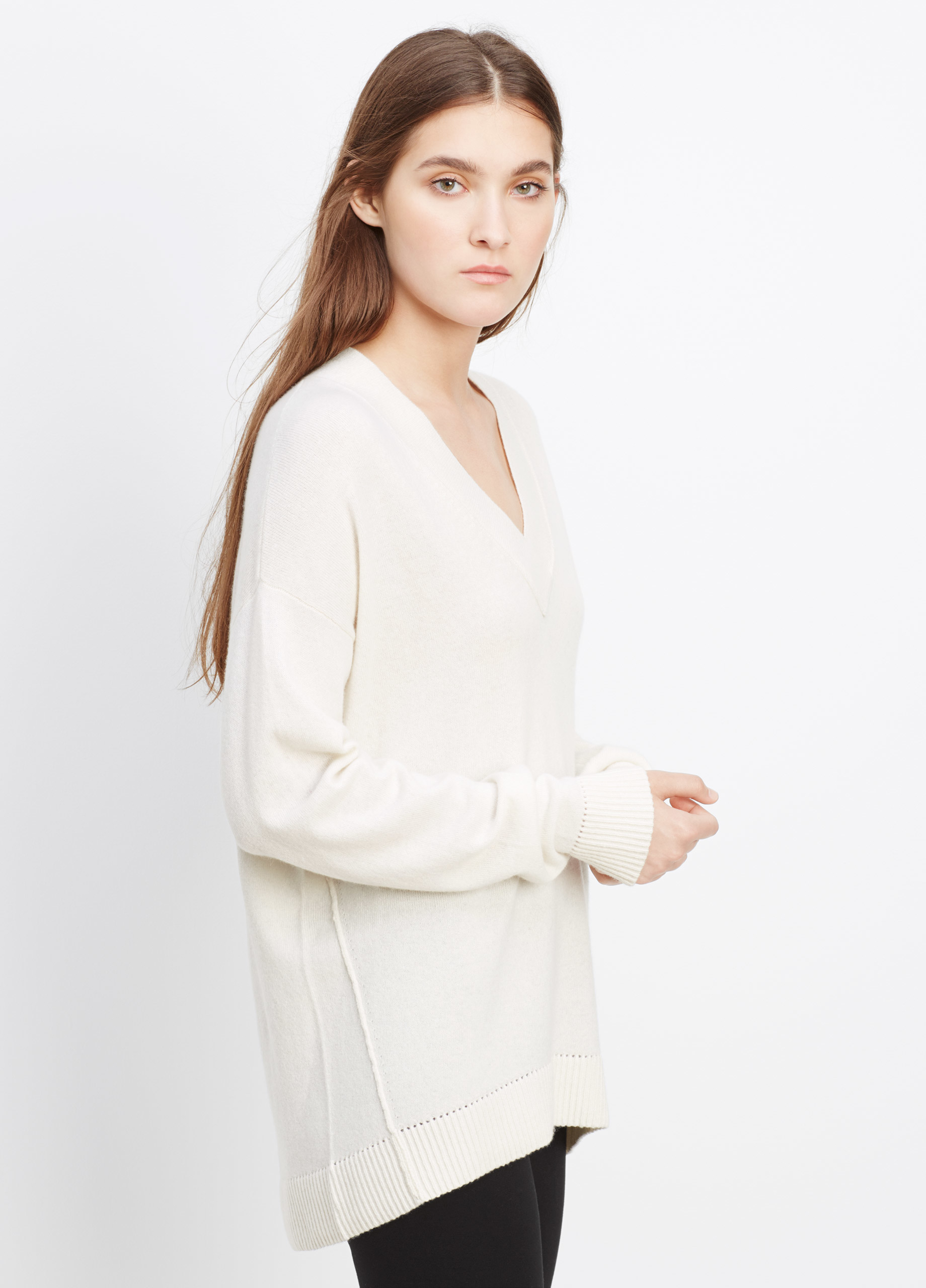Vince Cashmere Pointelle Trim V-neck Sweater in White | Lyst