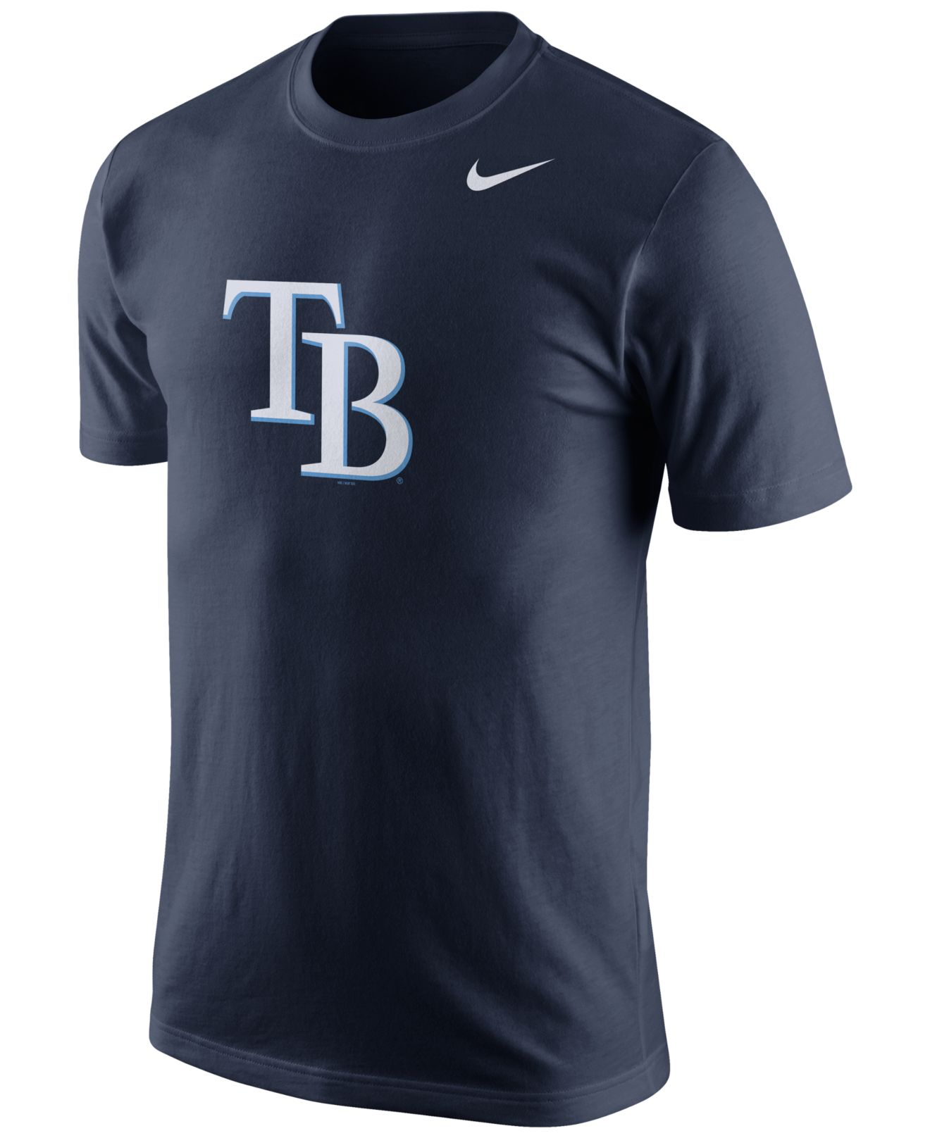 Nike men 39 s tampa bay rays logo t shirt in blue for men lyst for Tampa t shirt printing
