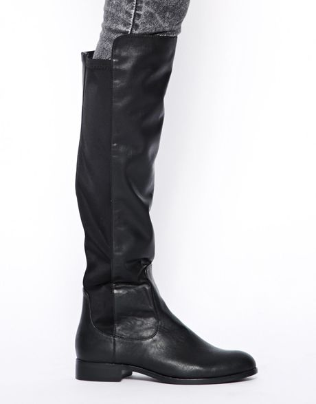 river island stretch knee high boots in black lyst