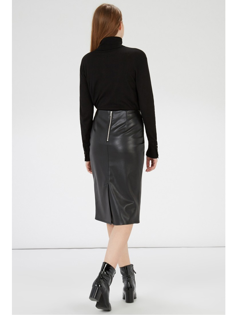 Warehouse Faux Leather Pencil Skirt in Black   Lyst