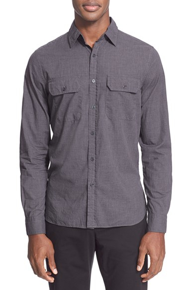 Todd snyder extra trim fit utility shirt in gray for men for Extra trim fit dress shirt