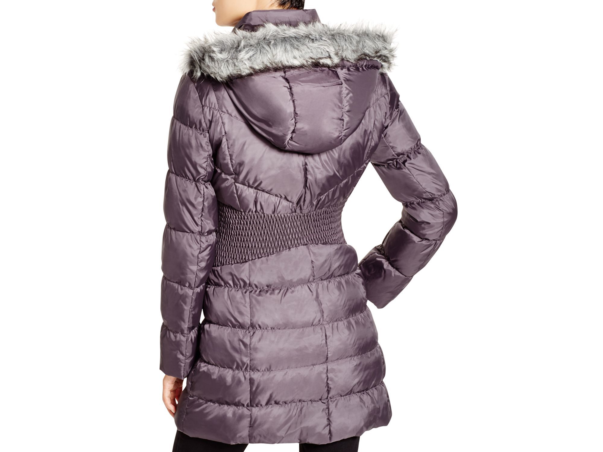 Lyst Via Spiga Faux Fur Trim Hooded Puffer Jacket In Purple