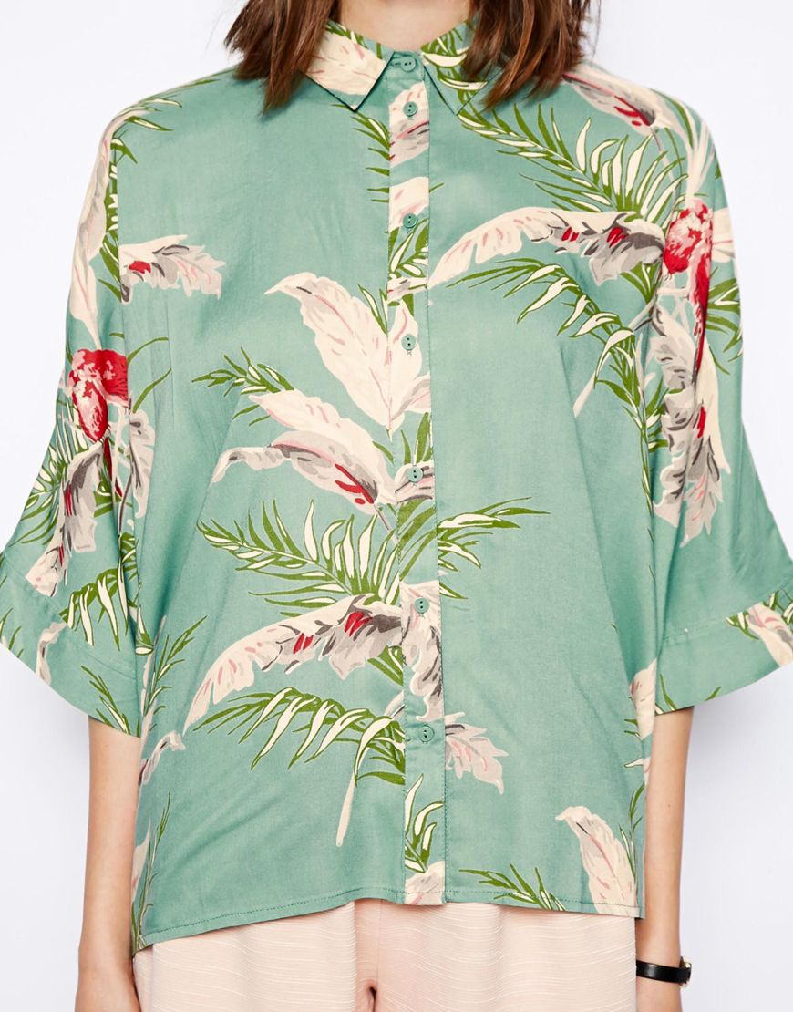 14c3ed213b Lyst - ASOS Tropical Floral Print Short Sleeve Kimono Blouse in Blue