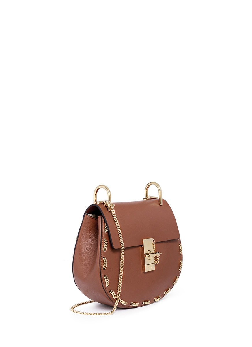 chloe leather handbags - Chlo�� Drew Small Chain-Detail Leather Shoulder Bag in Brown | Lyst