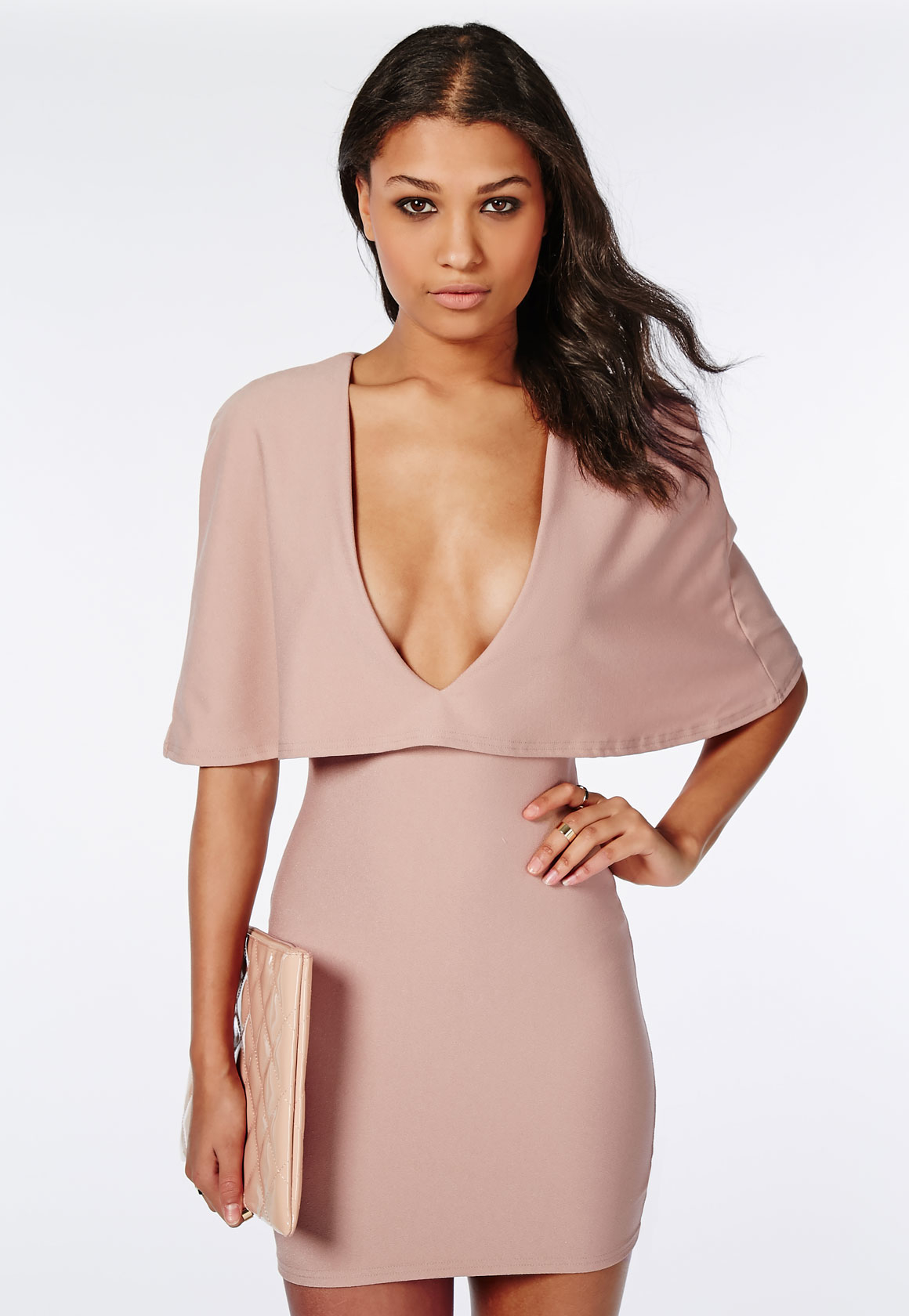Missguided Crepe Cape Bodycon Dress Taupe in Pink