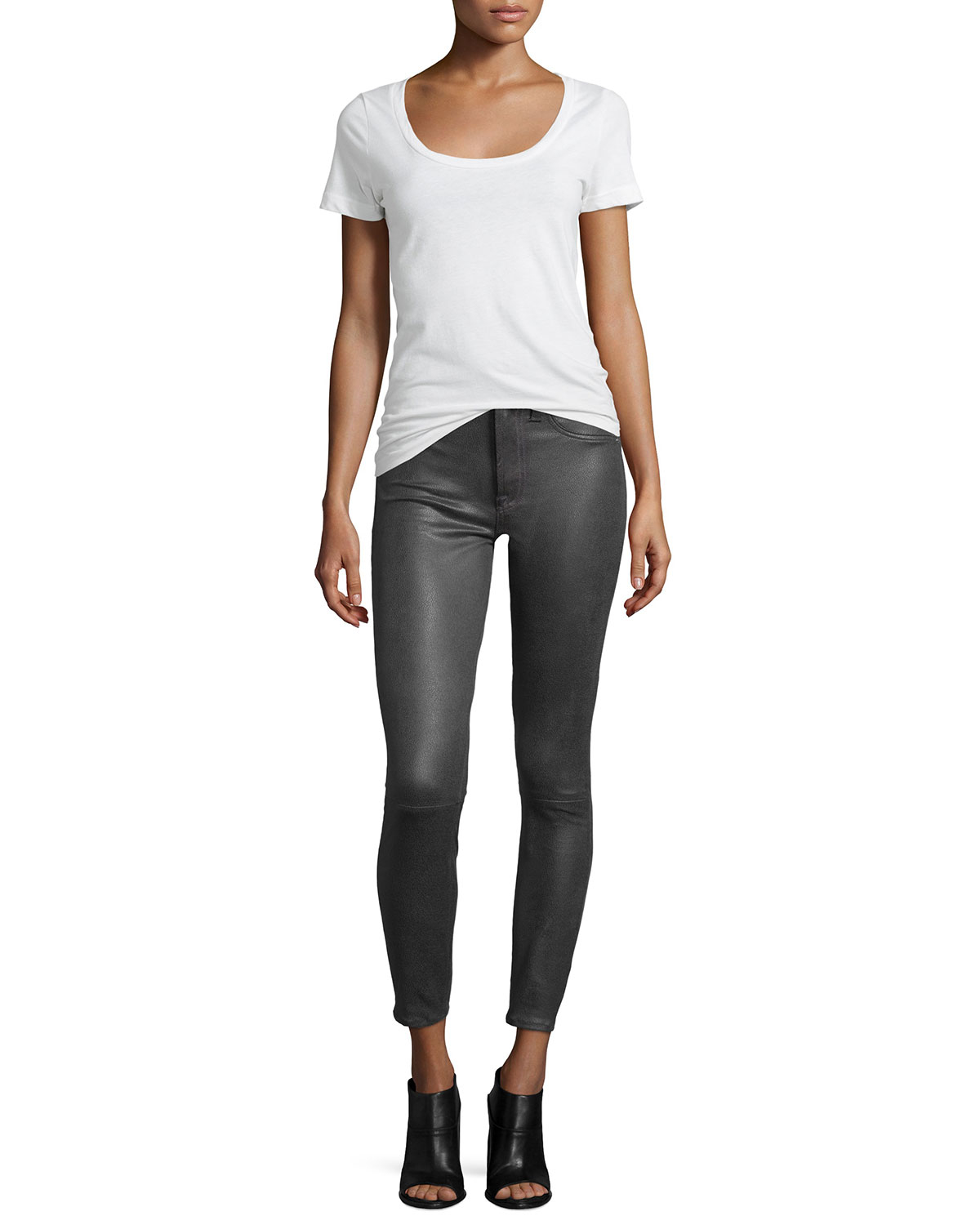 7 for all mankind High Waist Ankle Skinny Crackle Leather-like ...