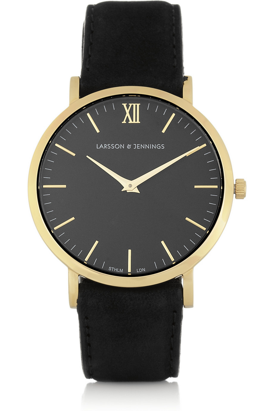 Lyst larsson jennings l der suede and gold plated watch in metallic for Watches gold