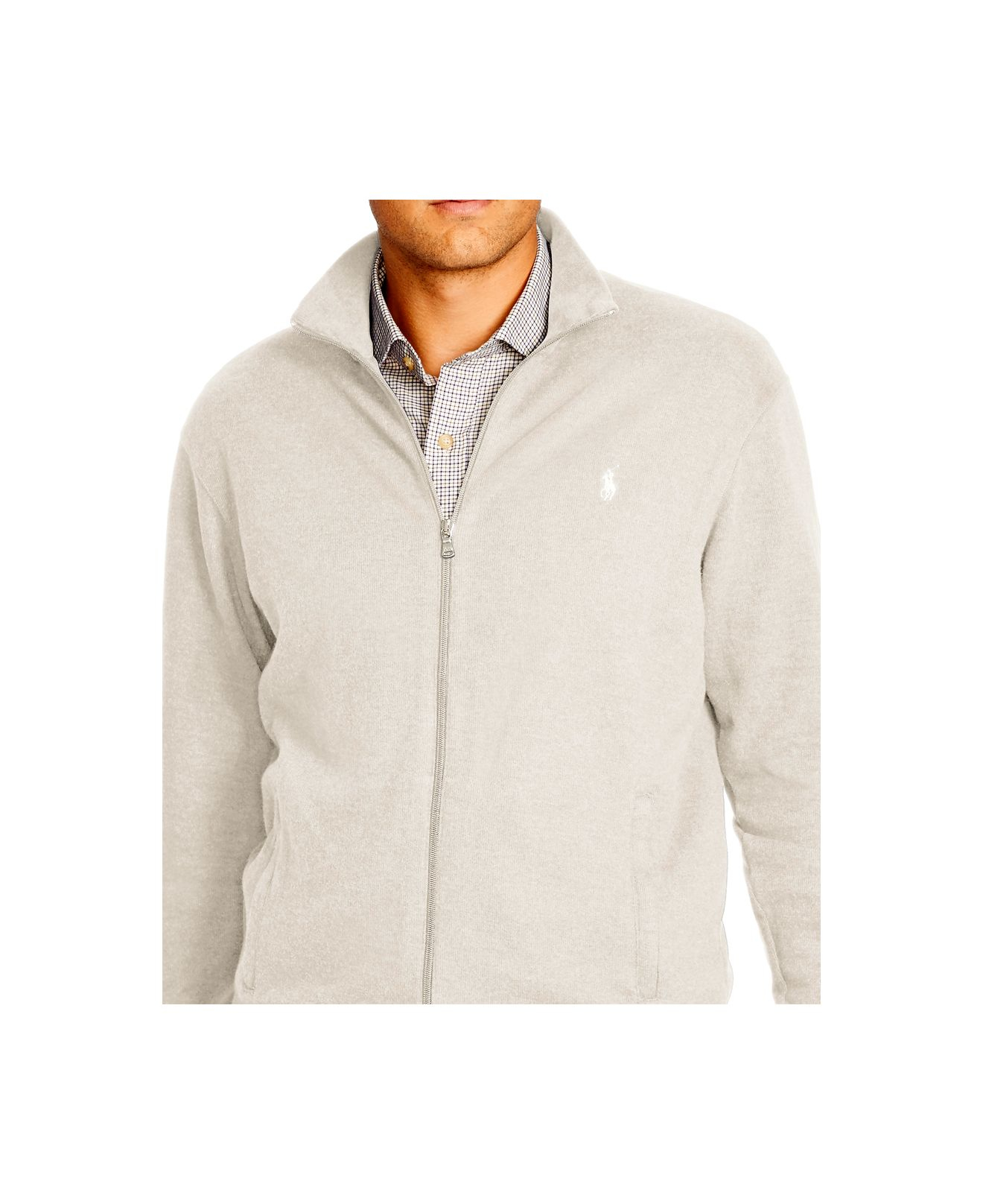 Polo ralph lauren Big \u0026amp; Tall French-rib Full-zip Jacket in Beige for Men (Chic Cream) | Lyst