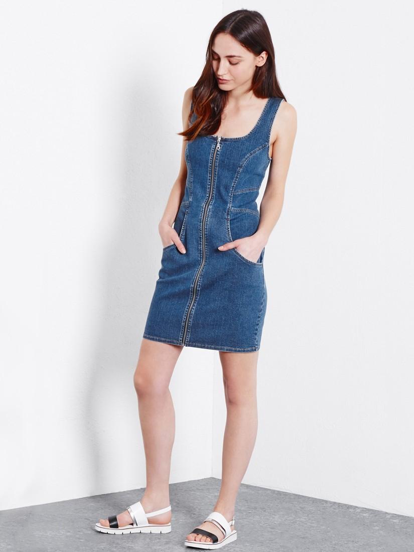 Zip front denim dress