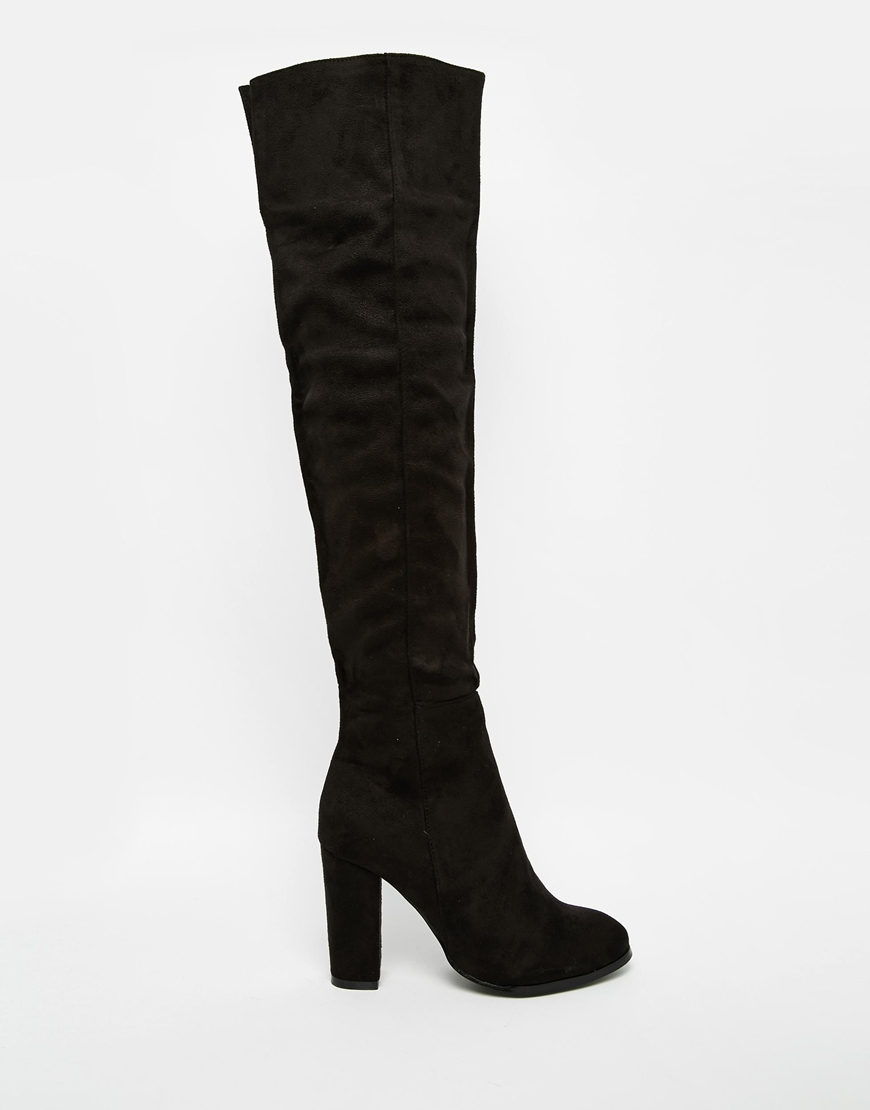 Daisy street Black Block Heel Over The Knee Boots in Black | Lyst