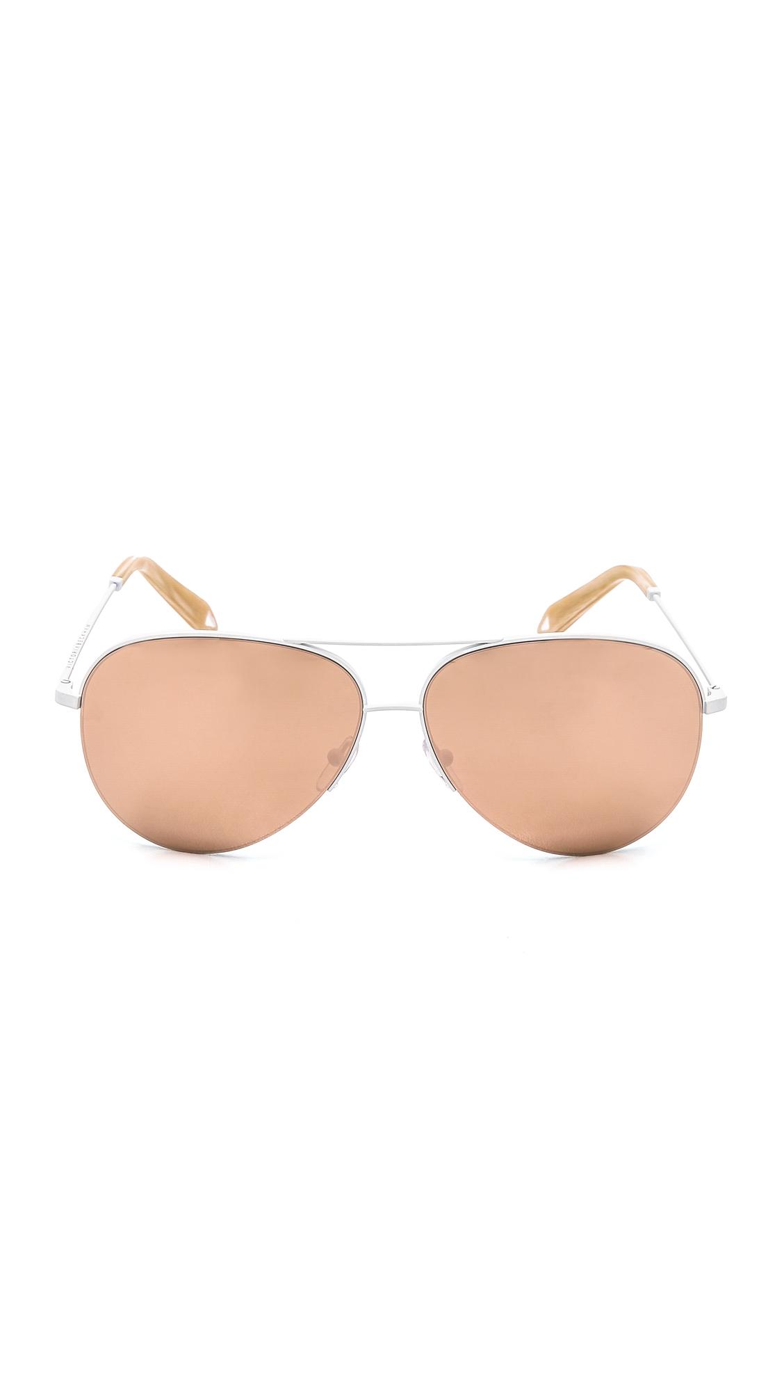 a2193c13b24 Lyst - Victoria Beckham Classic Aviator Sunglasses in Pink