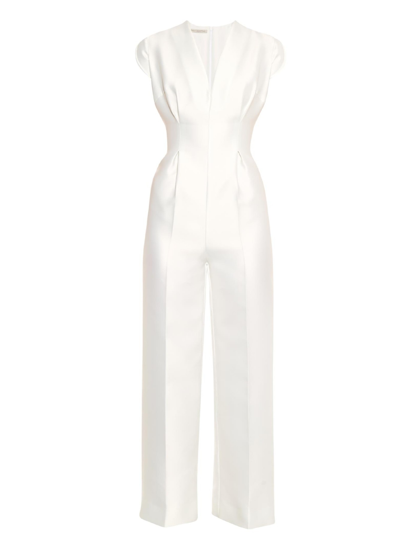 56c0913b150f Lyst - Emilia Wickstead Leslie V-Neck Duchess-Satin Jumpsuit in White